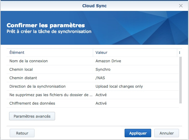 finalisation - NAS Synology et Amazon Drive