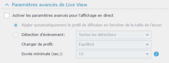 modifier parametres live view 2 - Synology - Installation et configuration d'une caméra IP sous DSM Surveillance Station