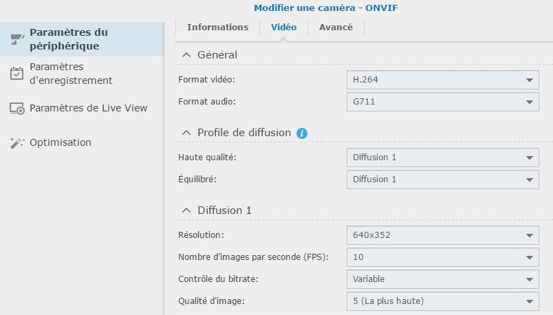 modifier parametres video - Synology - Installation et configuration d'une caméra IP sous DSM Surveillance Station