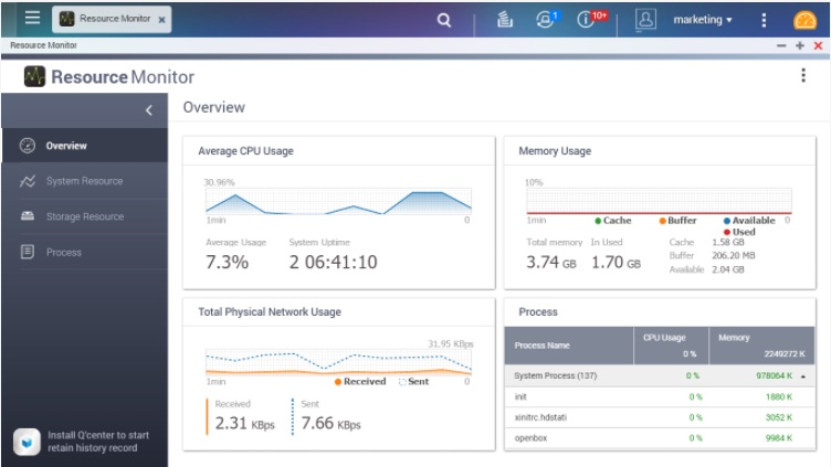 ressource monitor - QNAP : QTS 4.3 disponible pour tous les NAS à partir TS-x12