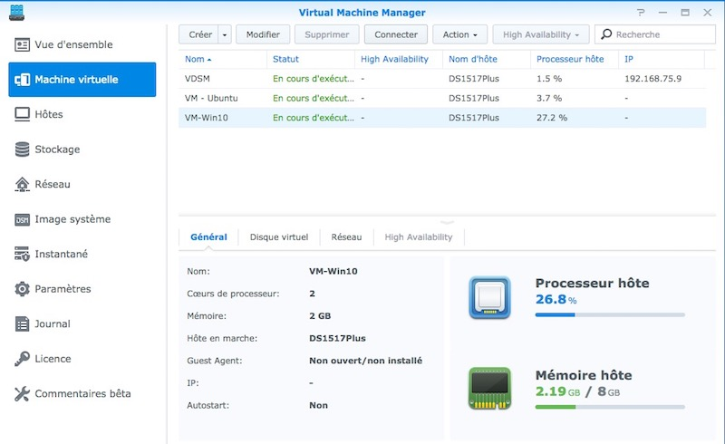 Virtual Machine Manager - NAS - Test du Synology DS1517+