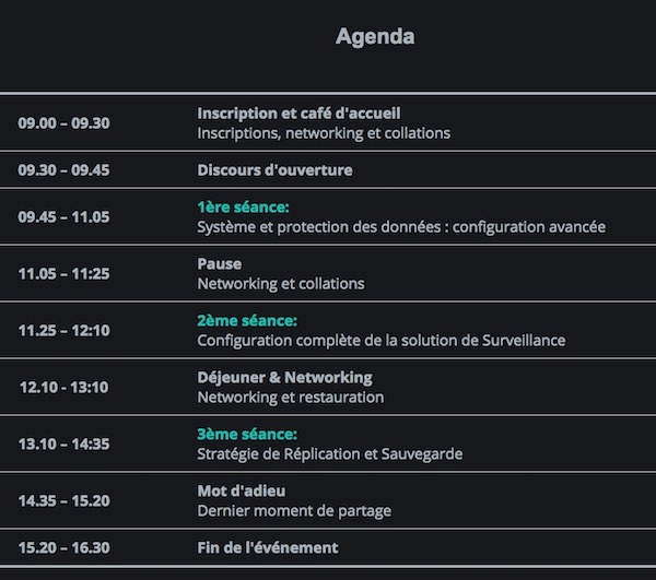 agenda workshop synology 2017 - Workshops Synology 2017