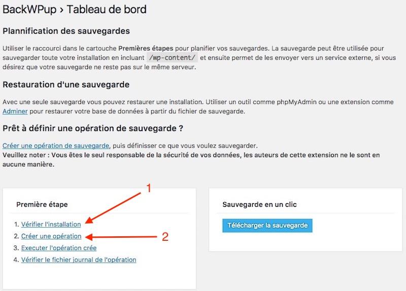 installation BackWPup - BackWPup : Sauvegardes Wordpress (base de données, export XML, sauvegarder de tous les fichiers...)