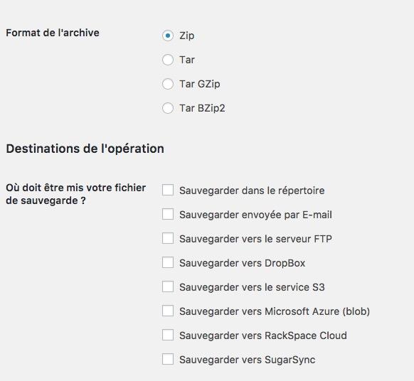 options sauvegarde BackWPup - BackWPup : Sauvegardes Wordpress (base de données, export XML, sauvegarder de tous les fichiers...)