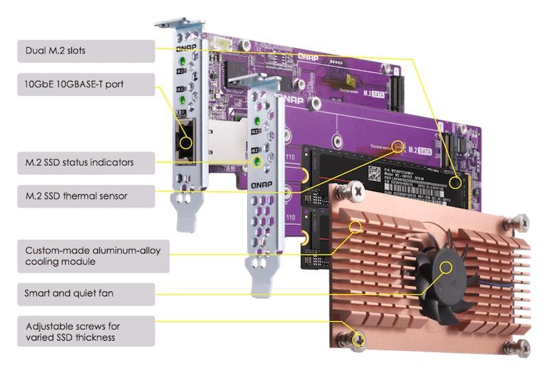 QNAP QM2 - QNAP lance 1 nouveau NAS : TS-831X (quad-core, 10GbE et emplacement PCIe)