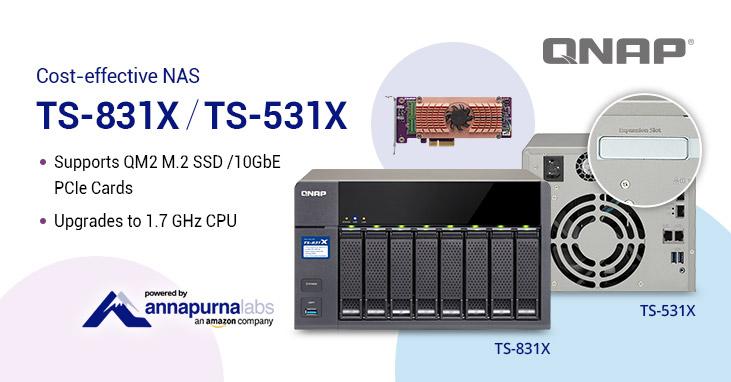 TS 531X TS 831X - QNAP lance 1 nouveau NAS : TS-831X (quad-core, 10GbE et emplacement PCIe)