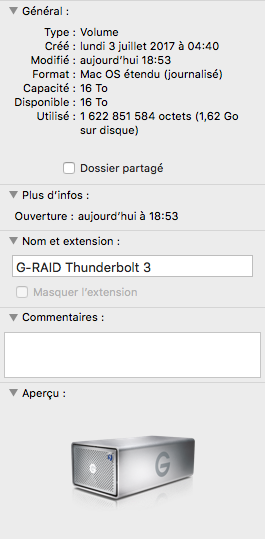 G raid 16 - Test du G-RAID with Thunderbolt 3 : 500 Mo/sec ?
