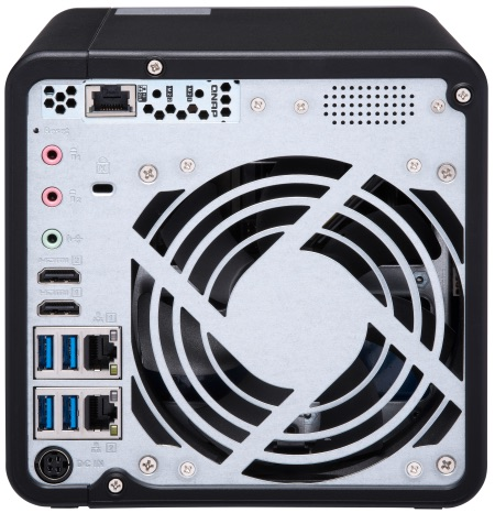 QNAP TS 453BT3 Back - NAS - QNAP lance officiellement le TS-453BT3 : quad core, 4 baies, Thunderbolt 3