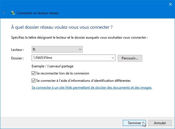 connexion8 - Ajouter son NAS comme lecteur réseau sur Windows