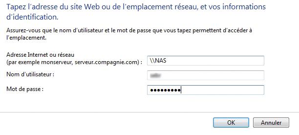 connexion w7 14 - Ajouter son NAS comme lecteur réseau sur Windows