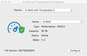 g raid configurator 300x192 - Test du G-RAID with Thunderbolt 3 : 500 Mo/sec ?