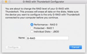 g raid configurator raid 300x188 - Test du G-RAID with Thunderbolt 3 : 500 Mo/sec ?