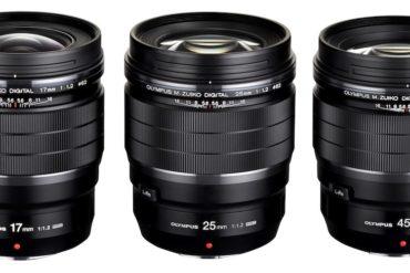 gamme 17 25 45 olympus 370x247 - Olympus lance 2 objectifs à focale fixe M.Zuiko F1.2 PRO 17 mm et  45mm