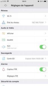 reglage app argus 169x300 - Reolink Argus, test de la caméra IP sans fil
