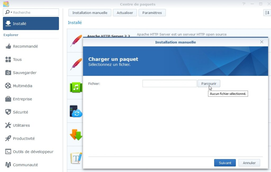 charger un paquet synology