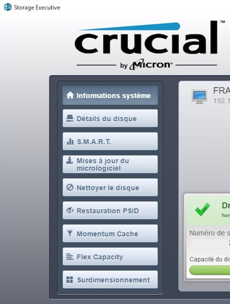 crucila storage executive - Test du Crucial MX500