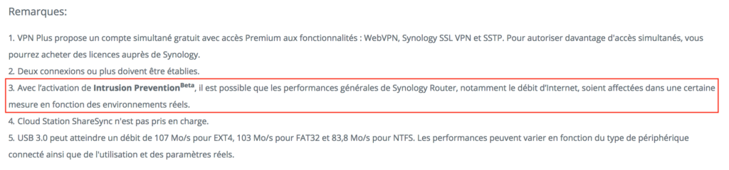 Remarques page produit Synology Routeur