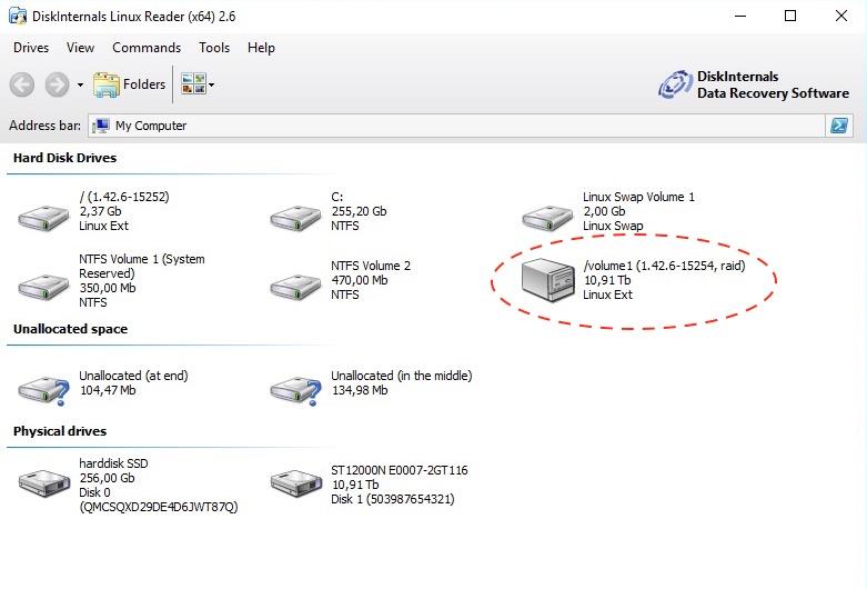 Linux Reader volume1 - Lire le disque NAS depuis Windows (Gratuit) - ext2 / ext3 / ext4