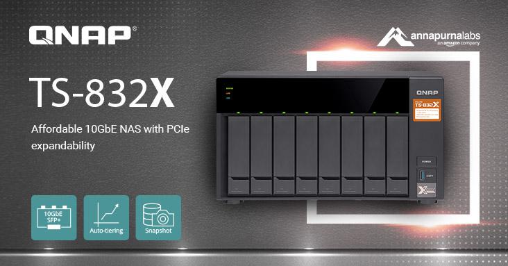QNAP TS 832X - QNAP lance le TS-832X : 8 baies, processeur quad-core, 2 ports SFP+ 10GbE...