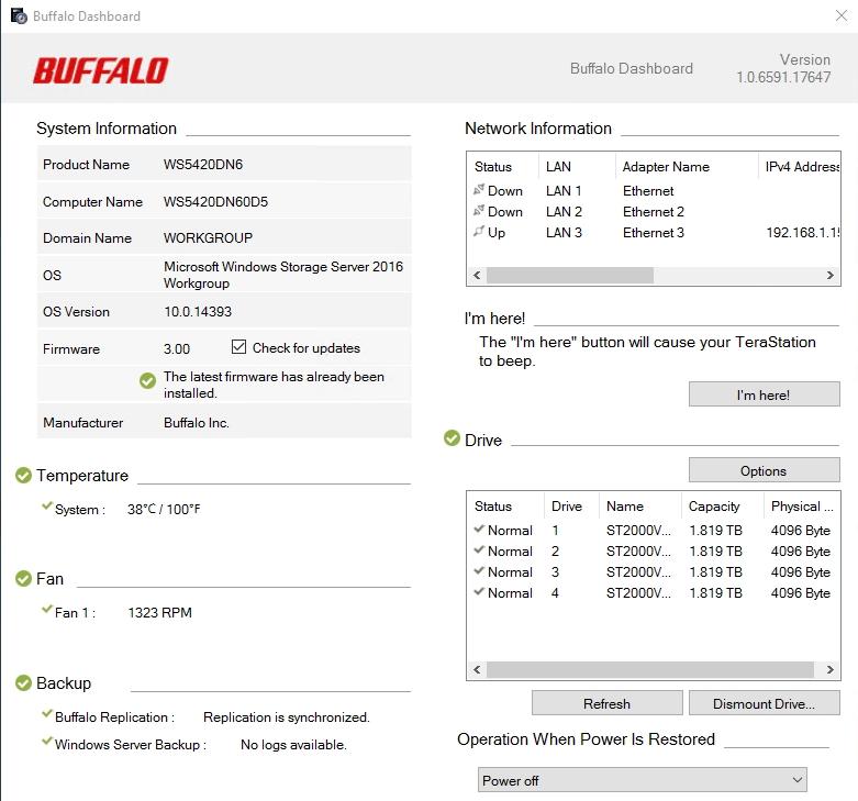 Buffalo WS5420DN6 3 - Test NAS Buffalo TeraStation WS5420DNW6 (Windows Server)