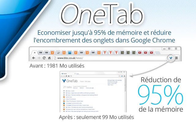 OneTab - 5 extensions indispensables pour Google Chrome