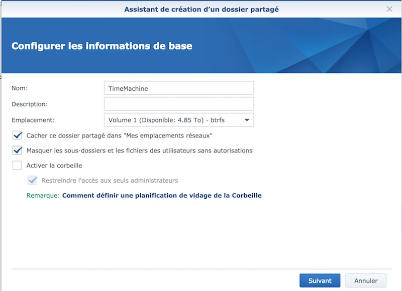nom dossier - Tuto - Time Machine et NAS Synology