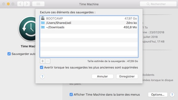 option exclure time machine - Tuto - Time Machine et NAS Synology