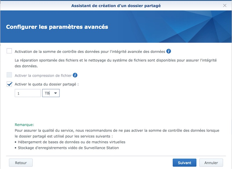quota - Tuto - Time Machine et NAS Synology