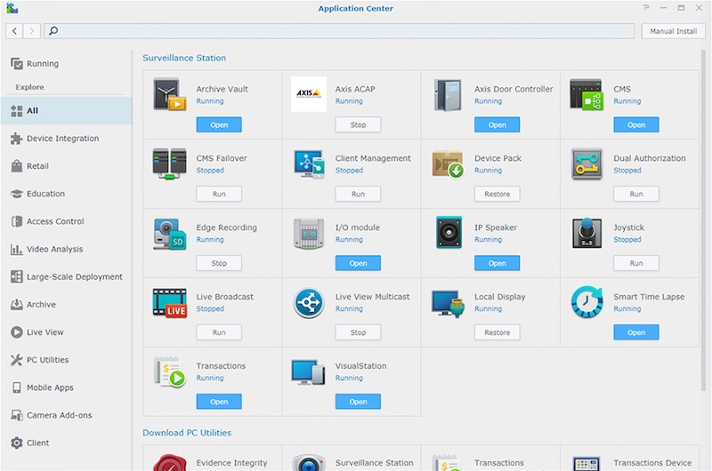 Application Center - Synology lance Surveillance Station 8.2