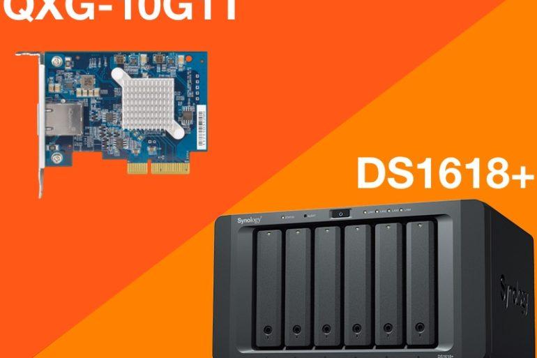 QXG 10G1T DS1618plus 770x513 - Peut-on mettre une carte réseau QNAP 10 Gbit/s dans un NAS Synology ?