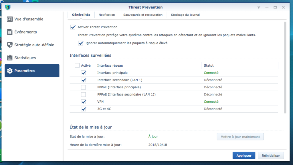ThreatPrevention Parametres 1024x577 - Synology SRM 1.2 - Threat Prevention