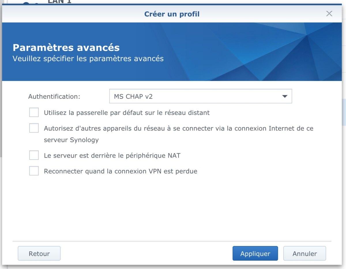 parametres avances VPN - Synology - Connexion avec VPN Unlimited