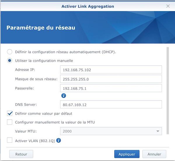 activer link aggregation - Agrégation de liens et NAS Synology