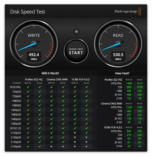 DiskSpeedTest Lacie portable SSD - Test LaCie Portable SSD 1To