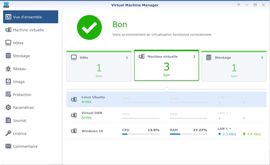 Virtual Machine Manager - Test du NAS Synology DS1819+