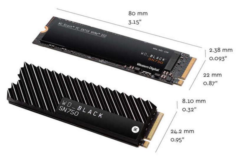 WD Black SN750 NVMe dimensions - WD Black SN750 NMVe SSD est lancé