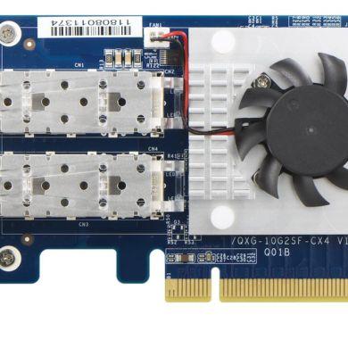 qnap qxg 25g2sf cx4 390x390 - QNAP annonce sa carte réseau Dual 25GbE : QXG-25G2SF-CX4