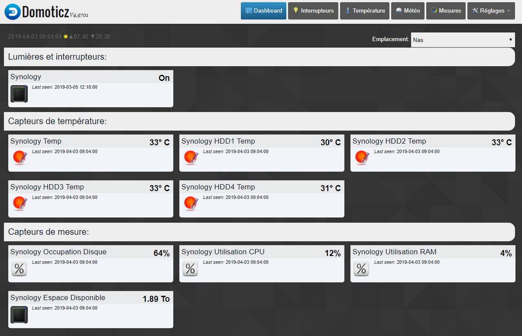 Domoticz monitoring nas 26 - Domoticz - Monitorer son NAS Synology