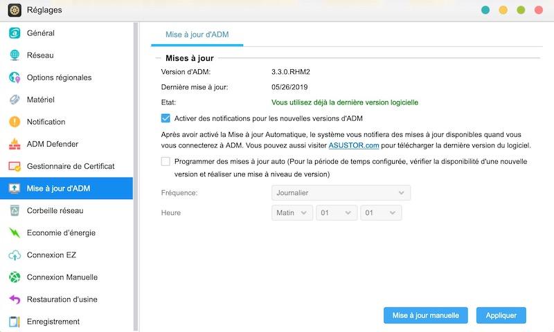 Asustor ADM 33 - Asustor ADM 3.3 disponible pour tous les NAS