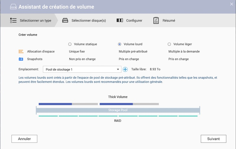 creation volume - Prise en main d'un NAS QNAP