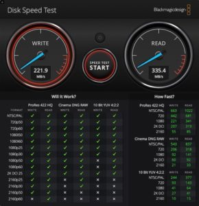 DiskSpeedTest 290x300 - Test SSD Seagate IronWolf 110