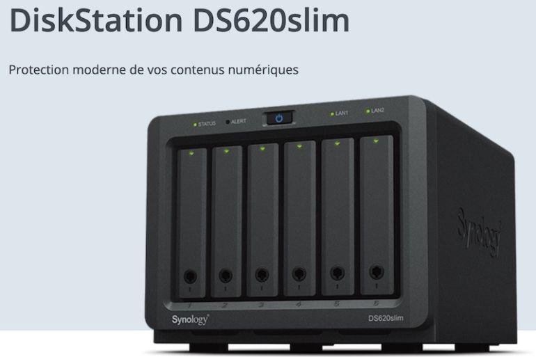 synology DS620slim 770x513 - Synology lance le DS620slim : 6 baies, Intel J3355, 2Go de RAM, 2 USB 3.0 et 2 RJ45