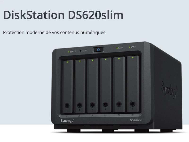 synology DS620slim - Synology lance le DS620slim : 6 baies, Intel J3355, 2Go de RAM, 2 USB 3.0 et 2 RJ45