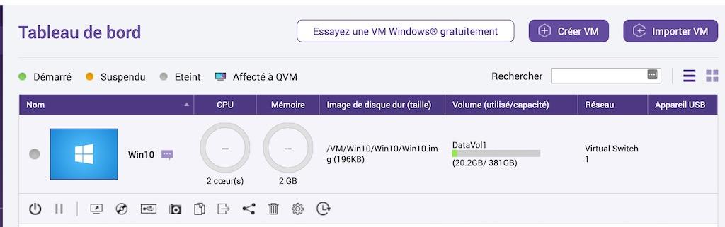 tableau bord win10 - Virtualisation avec un NAS QNAP
