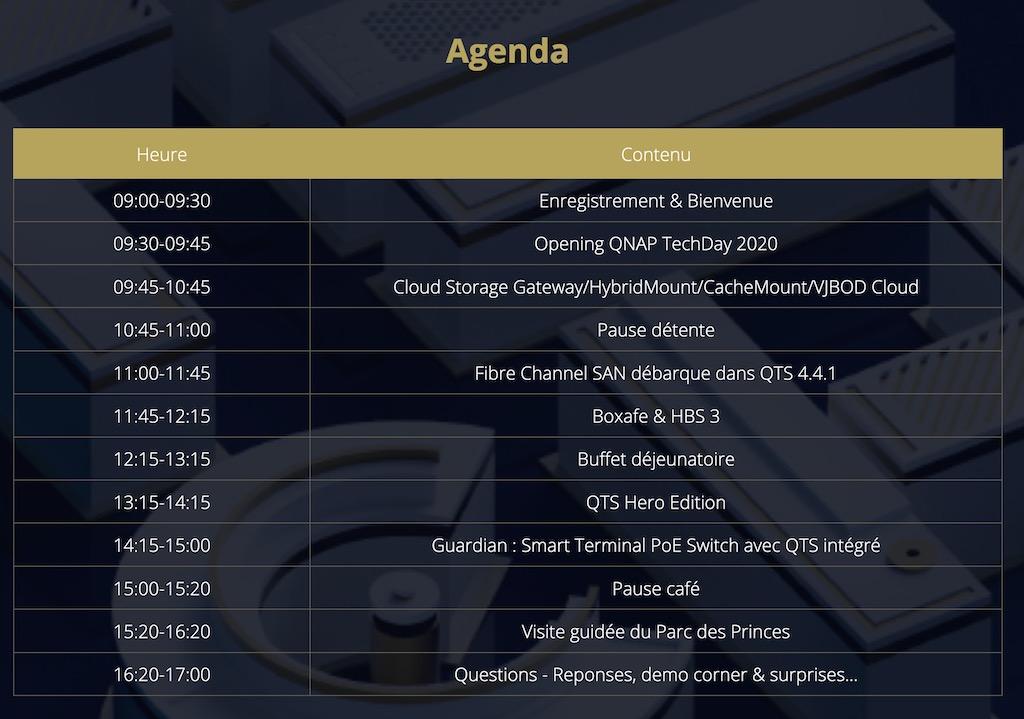 agenda qnap 2020 - QNAP 2020 TechDay, les inscriptions sont (presque) ouvertes à tous