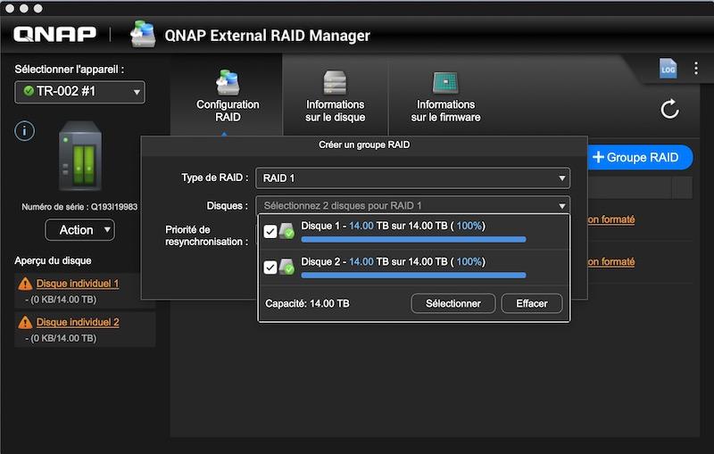 creation RAID1 - Test du QNAP TR-002