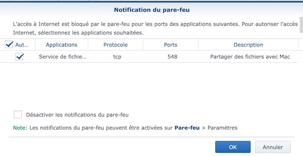 firewall - Time Machine avec un routeur Synology (Time Capsule)