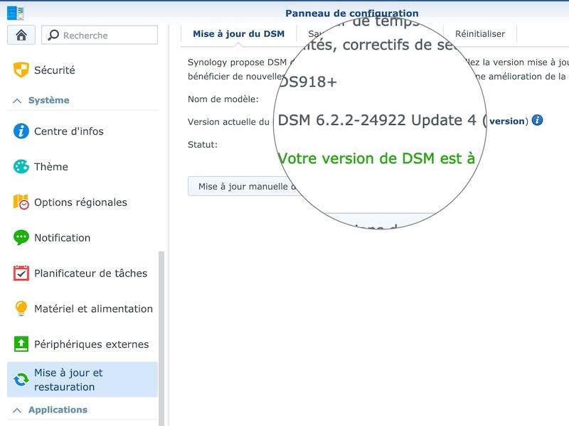 panneau configuration mise jour - Synology met à jour ses NAS vers DSM 6.2.2 update 4
