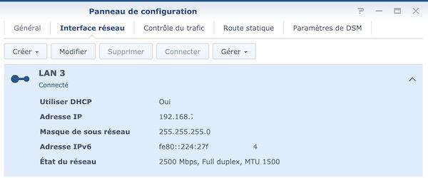 LAN3 connecte - NAS Synology et adaptateur réseau 2,5 Gbit/s