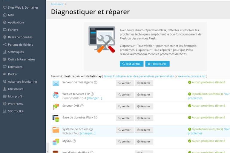 Plesk Diagnostiquer et reparer 770x513 - Plesk : Détecter et réparer facilement les erreurs sur votre hébergement